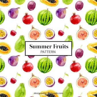 Структура акварельными летних фруктов
