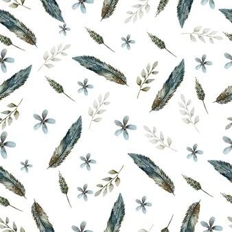수채화 열대 잎의 패턴