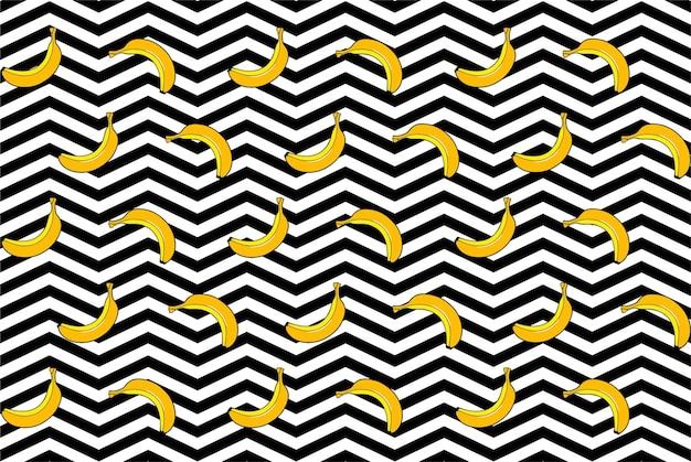 黒と白の背景に黄色のバナナのパターン