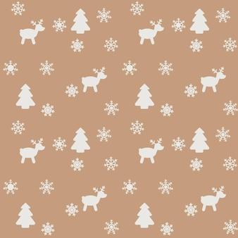 雪、クリスマスツリー、鹿をイメージした新年やクリスマスをテーマにしたパターン。ベクター