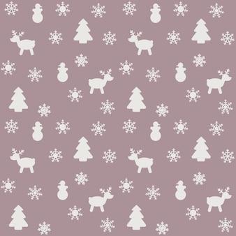 雪、クリスマスツリー、鹿をイメージした新年やクリスマスをテーマにしたパターン
