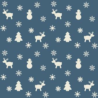 눈송이, 크리스마스 트리, 사슴의 이미지와 함께 새해 또는 크리스마스를 테마로 한 패턴