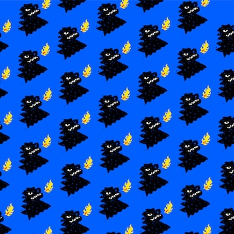 恐竜の模様、飾り。ベクター。漫画のスタイルの爬虫類。