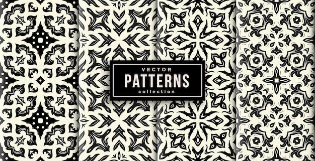 Узор орнамент стиль черный и белый цвета набор из четырех. бесшовный фон набор