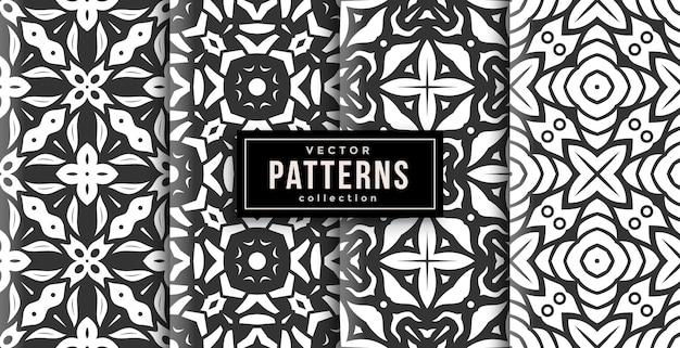 パターンオーナメントスタイルの白黒4点セット。シームレスな背景セット