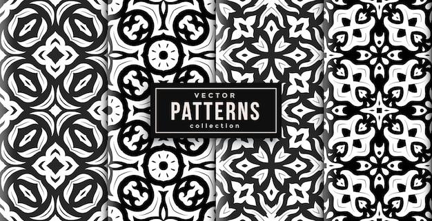 Шаблон орнамента в стиле черно-белый набор из четырех. бесшовный фон набор