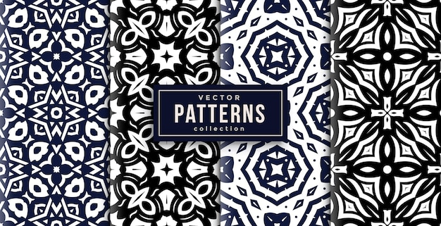 Pattern ornament style black, blue and white set of four. seamless background