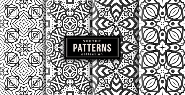 Pattern ornament style black and white set of four. seamless background set