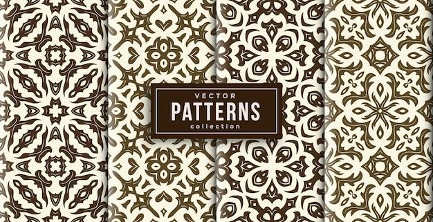 Шаблон орнамента в стиле коричневого и белого цветов набор из четырех. бесшовный фон набор