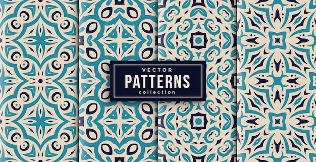 Pattern ornament style colors set of four. seamless background ready to print