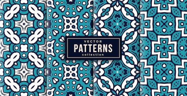 Pattern ornament style cool colors set of four. seamless background set