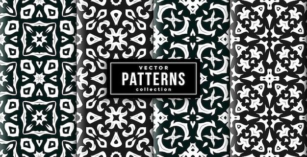 パターンオーナメントスタイルのグリーンとブラックの4色セット。シームレスな背景セット
