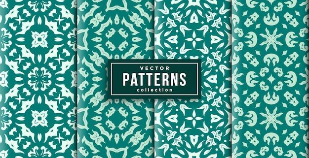 Шаблон орнамента в стиле зеленого и белого цветов набор из четырех. бесшовный фон набор