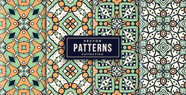 Pattern ornament style green and orange set of four. seamless background set