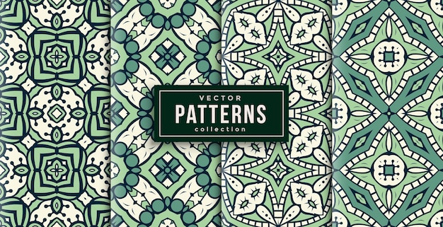 Pattern ornament style green and white set of four. seamless background set