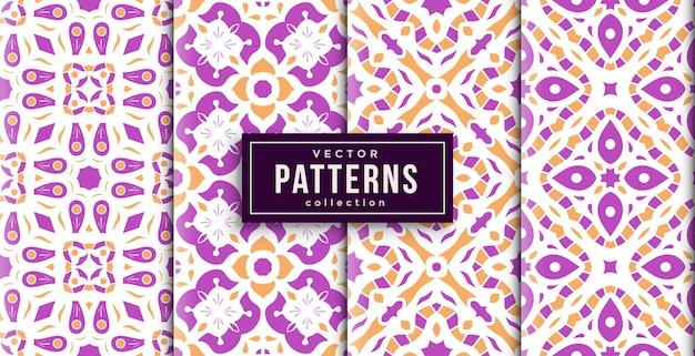 Шаблон орнамента в стиле пурпурных цветов набор из четырех. бесшовный фон набор