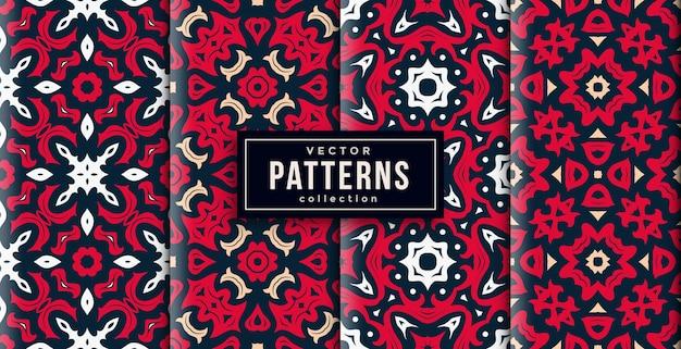 Шаблон орнамента в стиле красных и зеленых цветов набор из четырех. бесшовный фон набор