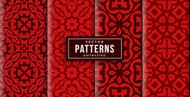 Шаблон орнамента в стиле красных цветов набор из четырех. бесшовный фон готов к печати