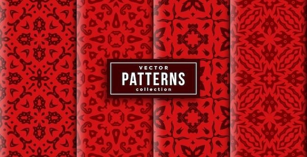 パターンオーナメントスタイルの赤い色の4つのセット。シームレスな背景を印刷する準備ができました