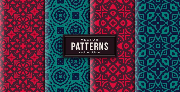 Pattern ornament style red and green set of four. seamless background set