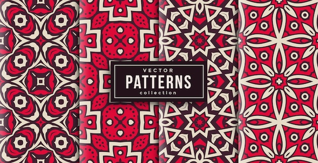 Pattern ornament style red and white set of four. seamless background set