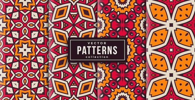 Pattern ornament style red and yellow set of four. seamless background set