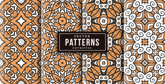 Pattern ornament style warm colors set of four. seamless background set
