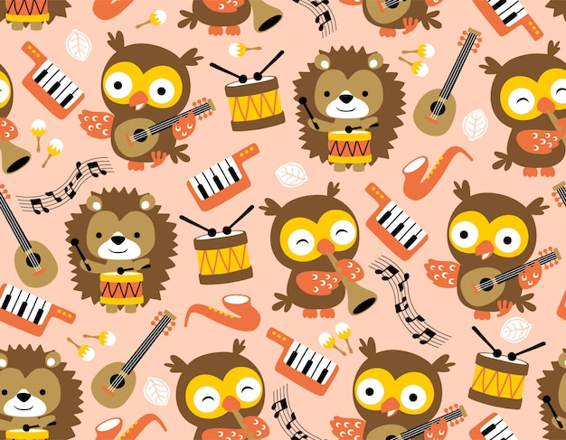 Pattern of owl and hedgehog with musical instruments
