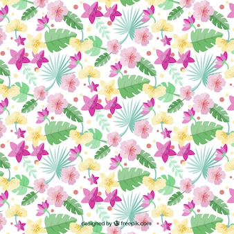 Pattern of palm leaves and exotic flowers in flat style