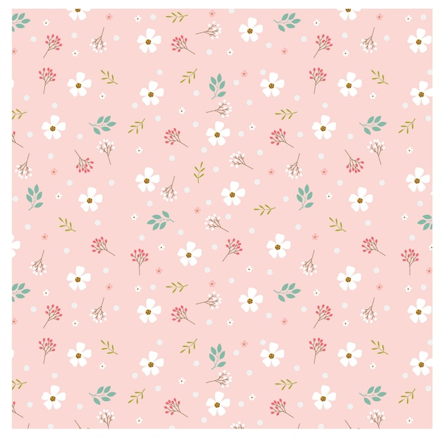 Pattern of pastel floral and polka dot on pink background
