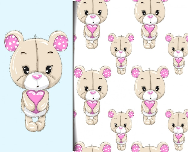 Pattern and pattern little bear holding heart