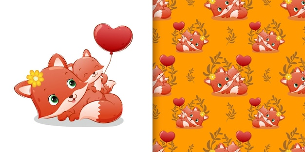 Pattern  pattern set of the baby fox holds the balloon beside her mother