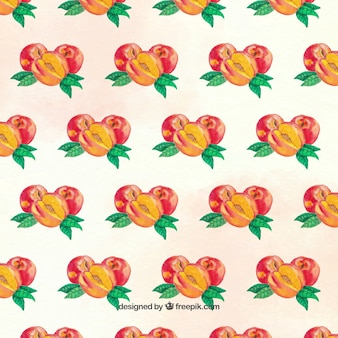 Pattern of peaches in watercolor style