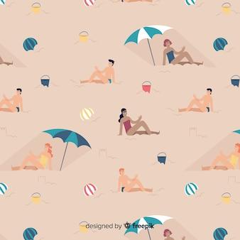 Modello di persone in spiaggia Vettore gratuito