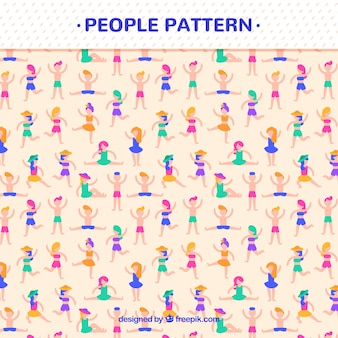 Pattern of people doing exercise with flat design