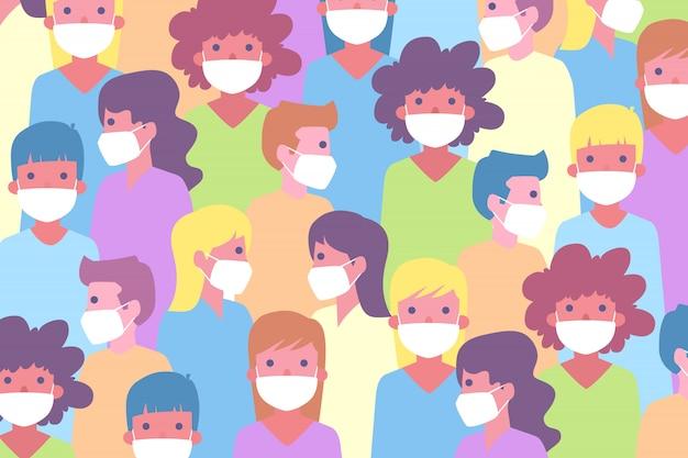 Pattern of people wearing mask in flat design