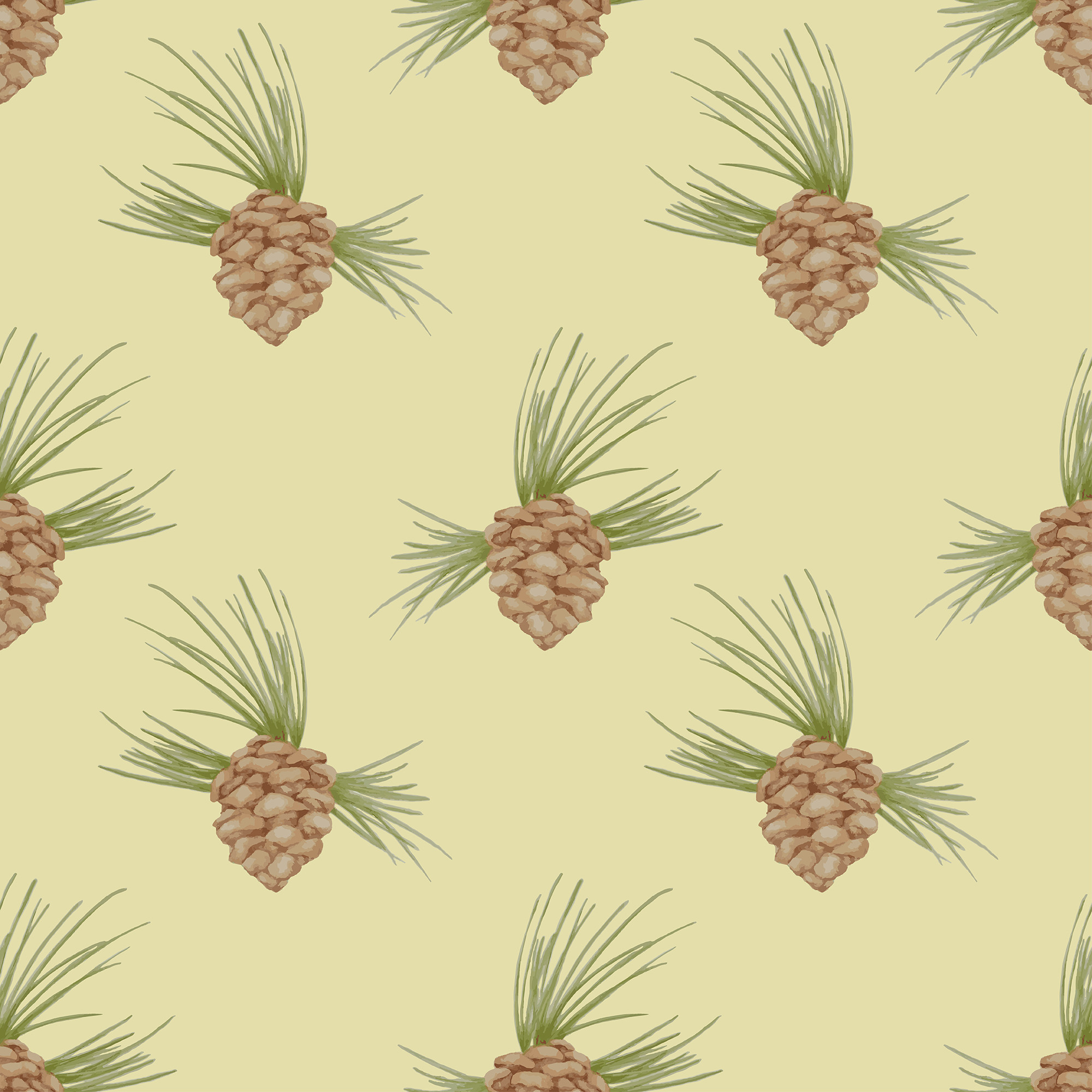 Pattern pinecone in watercolor