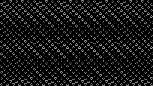 Pattern poker and casino outline poker card suits on black background
