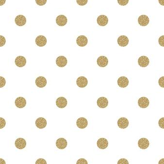 패턴 폴카 도트. 클래식 원활한 골드 반짝이 배경.
