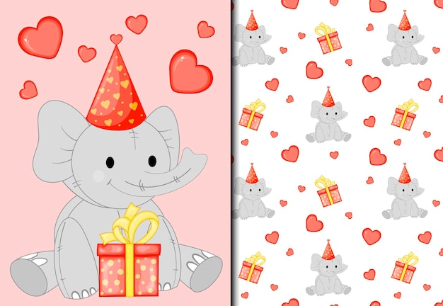 Pattern and postcard with a cute elephant. cartoon style.
