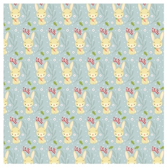 Pattern of rabbit and christmas leaf