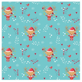 Pattern of reindeer and christmas elements