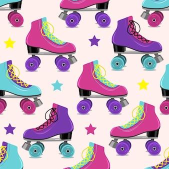 Pattern of retro roller skates on pink  background. vector illustration.