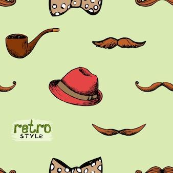 パターンレトロなスタイルの帽子と口ひげ。シームレスな背景のヒップスタースタイル。