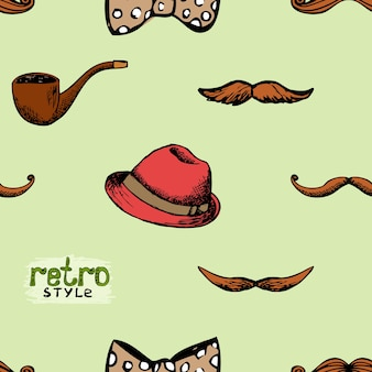 Pattern retro style hat and mustache. seamless background hipster style.