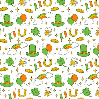 Pattern of saint patricks day elements in doodle style. seamless editable pattern