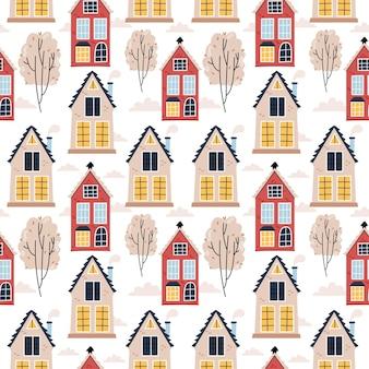 Pattern of scandinavian houses Premium Vector
