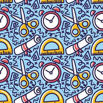 Pattern of school hand drawing with icons and design elements