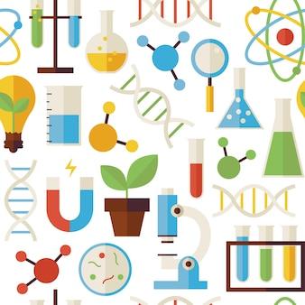 Шаблон науки и исследовательские объекты, изолированные на белом. предпосылка текстуры вектора плоского стиля безшовная. коллекция шаблонов по химии, биологии, физике и исследованиям. обратно в школу.