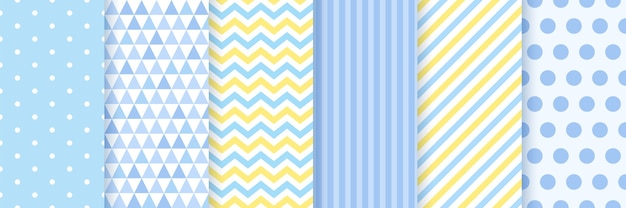 Pattern seamless. baby shower backgrounds. set blue pastel patterns.